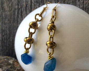 brass knotted chain and blue quartz crystal earrings