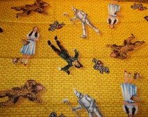 The Wizard of Oz Yellow Brick Road and Dorothy's Red Shoes Quilting Sewing Cotton Fabric 2 Pieces 1 Yard Each Piece