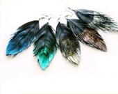 Dangle Earrings - Glitter Faux Leather Feather Earrings - Surgical Steel - Glitter in the Dark