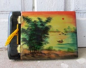 vintage photo album black lacquered wood Asian