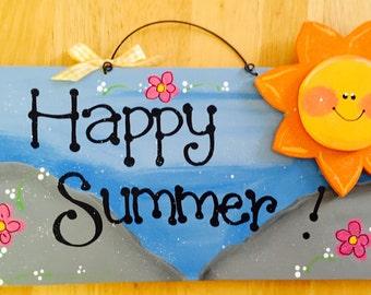 HAPPY SUMMER SUNSHINE Sun Sign Beach Decor Wood Tiki Bar Home