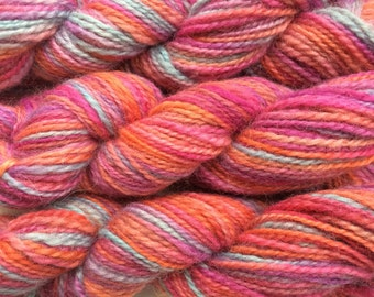 "Hand Spun Hand Dyed Gotland  2ply Yarn 200g 350 Yards ""Street Theatre"" DK/Worsted"