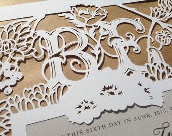papercut ketubah | wedding vows | anniversary gift | Succulents Garden