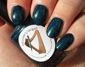 Melinda May (mini size & full size)- Teal holographic indie polish by Fedoraharp Lacquer