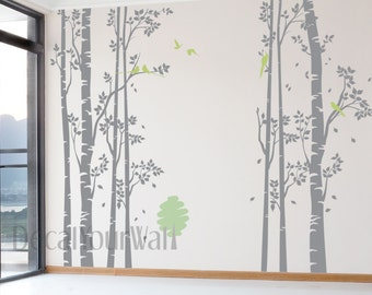 """Birch Tree Wall Decal Forest Large Tree Decals Nursery Sticker Living room Bedroom Home Decor Birds Removable Vinyl Stickers Wall Mural 96"""""""