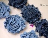 Singles, 1/2 Yard & 1 YARD Increment  - DENIM - Shabby Rose Trim - Blue Denim Flowers - Frayed Flower - Light and Dark Blue
