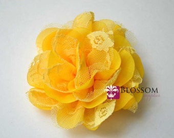 YELLOW Flowers - The Charlotte Collection - Small Shabby Chiffon and Lace Puff Flowers - DIY Headbands - Fabric Flower Head - Wedding
