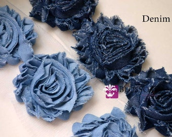 Singles, 1/2 Yard & 1 YARD Increment  - DENIM - Shabby Rose Trim - Blue Denim Flowers - Frayed Flower - Light and Dark Blue