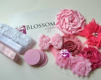 DIY Headband Making Kit - Pretty in Pink Collection - Chiffon Frayed Flowers - Shabby Rose Trim - Flower Headbands - Pink Hot Pink Rose