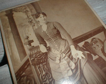 Antique Cabinet Card *Full Length Beautifully Dressed Lady* Victorian Photo Image *Houlton Maine*