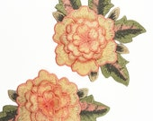 3D Embroidered Peach Rose Flower Patch Applique Motif, Sew On Rose Patch, Embroidered Applique 2 pcs