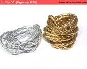 SALE 5 YARDS Golf or Silver Faux Leather Braided Ribbon Trim 0.2. '' for Crafts, Sewing , Accessories