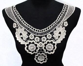 Ivory Floral Lace Crochet Applique Necklace Collar - For DIY Embellishments