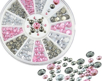 SALE Nail Art Decoration DIY Black White Pink Glitter Rhinestones