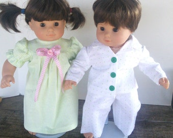 "American Girl 15 ""Bitty Twins Doll Clothing - Mint Green Stripe and Polka Dot Flannel Pajamas PJ's Boy and Girl"