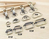 10Pcs 12mm 20mm 25mm 32mm Inner Size Brass Swivel Lobster Clasps D-Ring Rectangle Buckles - For Craft Bag Purse T227