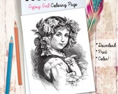 Printable Gypsy Girl Coloring Page to Download, Print and Color!