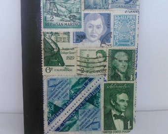 Blue green pocket notebook recycled vintage postage stamp collage unique travel gift mini composition travel pad