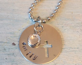 Cross Necklace. Confirmation Necklace. Religious Gift. Easter Gift for her. Personalized Necklace. First Communion Gift. Gift for her