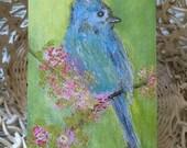 Original Art Greeting Card/Art Card/Bird Card/Bird Note Card/Blue Bird Art/Bird Art/FREE SHIPPING