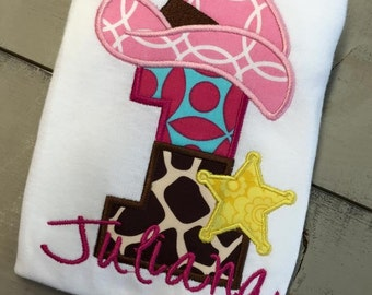 First Birthday Cowgirl Themed Applique Shirt