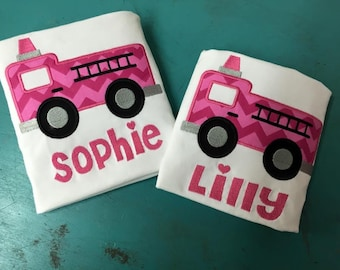 Fire truck Applique for Girls or Boys