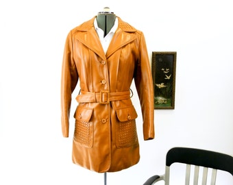 1970s Ladies Trench Coat Vintage 70s Womens Long Leather Look Vinyl or Pleather Vegan Friendly Winter Jacket with Belt by JCPenney - Size 12