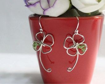 Four Leaf Clover Earrings, Sterling Silver Hook Earrings, Crystal beads, Four Leaf Clover Sterling Silver Hook Earring