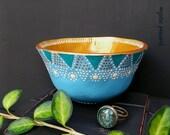 Moroccan Style Ring Bowl - Bohemian Decor - Gypsy Ring Bowl - Sky Blue Turquoise Bronze Ivory Polka Dot - Handmade Polymer Bowl