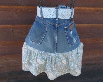 Denim blue jean apron with paisley ruffle