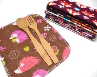 Cloth Napkins, 10 WOODLAND Animals Set, Girls Lunchbox Napkins, Unpaper Napkins, Children's Woodland Animal Cloth Napkins