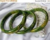 25% OFF 3 Vintage Bakelite Green Marbleized Bracelets, 1940's, Three Bangles, Bracelets