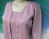 30% OFF Joseph A 2pc Pink Metallic  L/S Cardigan Sweater & Shell,  80's/90's, I have missing button :-)