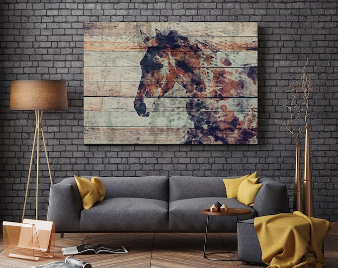 "Fire Horse 2. Extra Large Horse, Unique Horse Wall Decor, Brown Rustic Horse, Large Contemporary Canvas Art Print up to 72"" by Irena Orlov"