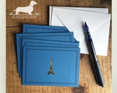 CLEARANCE! Bon Voyage. Note Cards (Set of 3) -- (Vintage-Style, Paris, Eiffel Tower, Bridal Shower, Simple Thank You Cards, Gold Foil, Blue)