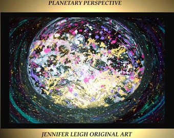 """Original Large Abstract Painting Modern Acrylic Painting Oil Painting Canvas Art Black Gold Planet Stars  36x24"""" Textured Wall Art  J.LEIGH"""