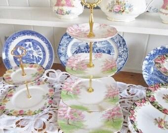 Vintage Royal Albert 4 tier Blossoms cake stand, English Garden Tea Shop tea stand,  excellent condition