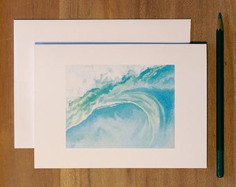 "Beach Themed Blank Note Card. Waves. Single Folded Greeting Card. ""Inside"""