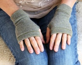 Fingerless Gloves, Cashmere wrist warmers, typing gloves in greys
