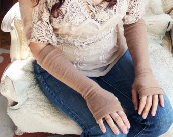 Cashmere Fingerless Gloves in caramel,  Cashmere Arm Warmers, Womans Fingerless Gloves