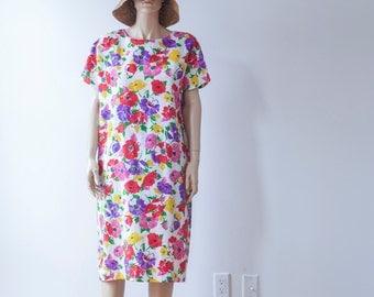floral garden shift vintage dress S / M / L