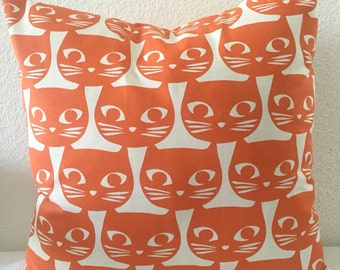 Single Pillow Cover 18x18 inch-Free US Shipping - Cute Cat Face Orange/Tangerine and White-Hime Decor Pillow-Accent Pillow