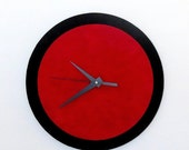 Sale, Wall Clock, Red and Black, Retro Clock,  Home and Living, Home Decor, Decor and Housewares, Home and Living, Unique CLock