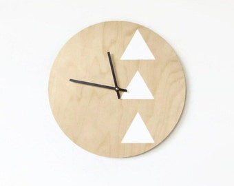 Wood Clock, Trending Minimalist Art,  Natural Wood and White, Triangles,  Housewares, Small Clock,   Home and Living, Unique Wall  Clock