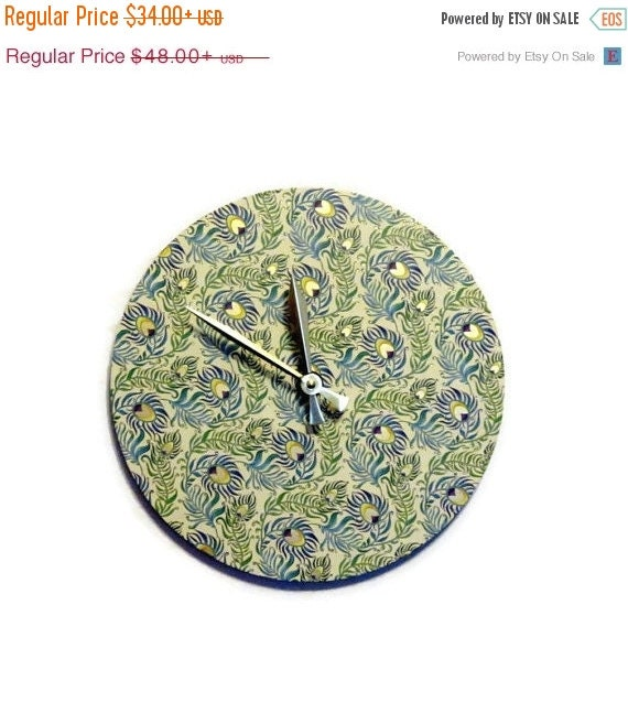 Sale Unique Wall Clock Peacock Decor Decor And Housewares Home And Living Small Clock Home