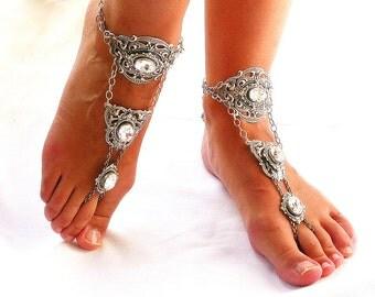 Swarovski Barefoot Sandals Silver Barefoot Sandals Wedding Bare Foot Sandals Wedding Foot Jewelry Bridal Jewelry Wedding Accessories
