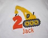 construction birthday number shirt / crane birthday shirt/ mighty machines birthday shirt