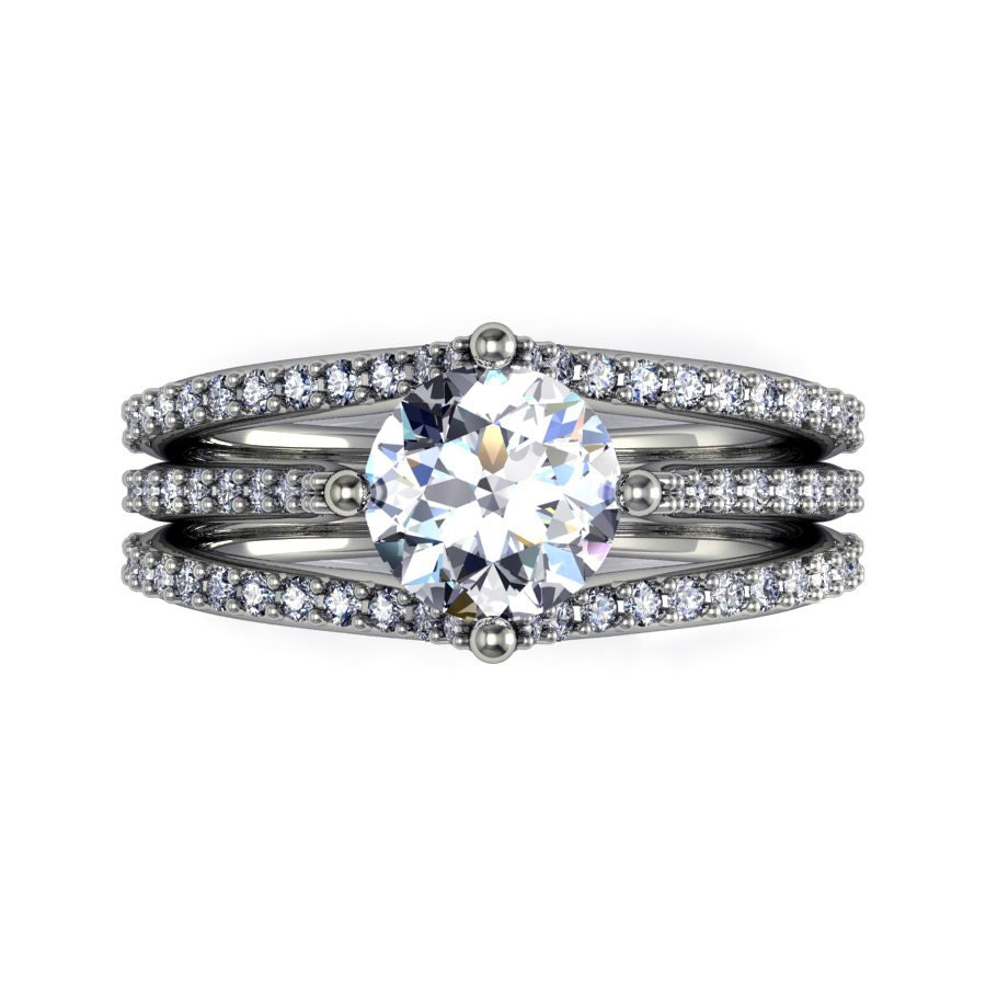 diamond engagement ring with moissanite centerstyle 128WDM