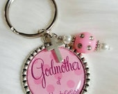 Godmother Keychain (with godchildren's names), Godmother Gift, Baptism Gift, Christening Gift