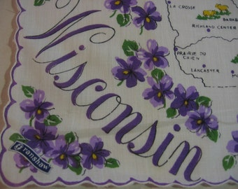 Vintage Wisconsin State Map Handkerchief Franshaw Label Unused Hankie Cotton Print State Flower Wood Violet 1960s State Historic Locations